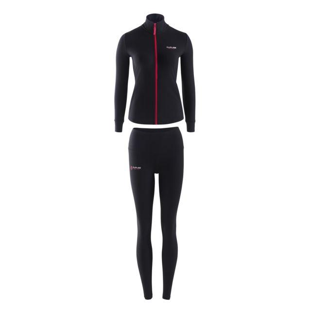 Duruss Black Jacket + T-shirt Manches Courtes Blanc + Legging Long Noir + Blanc + Noir