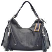 Oh My Bag - Sac à main cuir femme - Modèle Arizona gris foncé