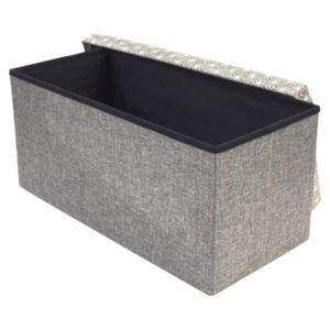 objets du mois coffre de rangement 110l banc bois et tissu pliable gris 76cm x 38cm. Black Bedroom Furniture Sets. Home Design Ideas