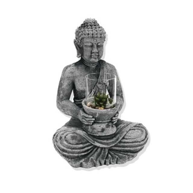 Atmosphera Statuette Bouddha avec photophore - Ciment