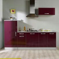 Paris Prix - Pack cuisine 3 meubles Solange - aubergine brillant