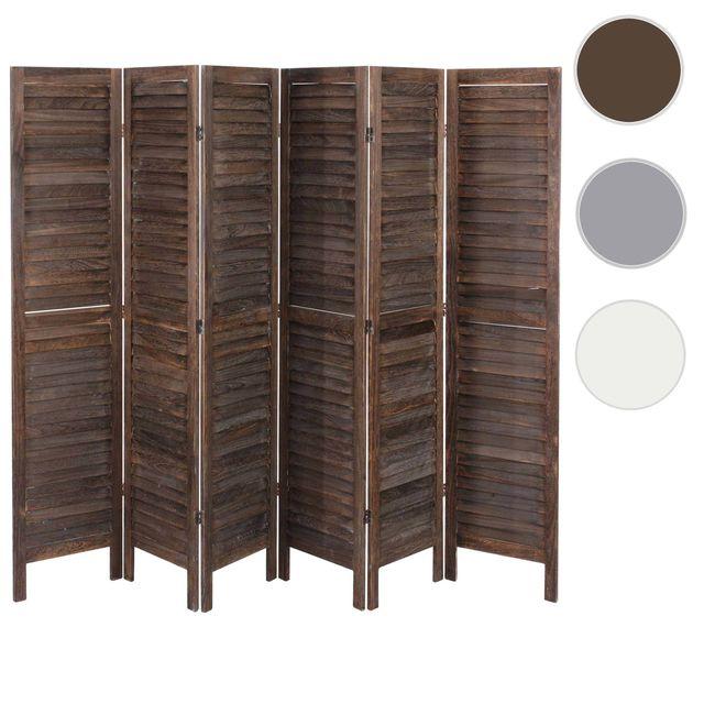 Mendler - Paravent / séparation bois, 6 pans, 276x2x170cm, shabby, vintage, marron 2cm x 170cm