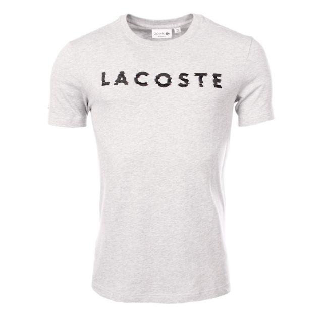 c0894571890 Lacoste - homme - T-shirt manches courtes Th1895 Gris - pas cher Achat    Vente Polo homme - RueDuCommerce