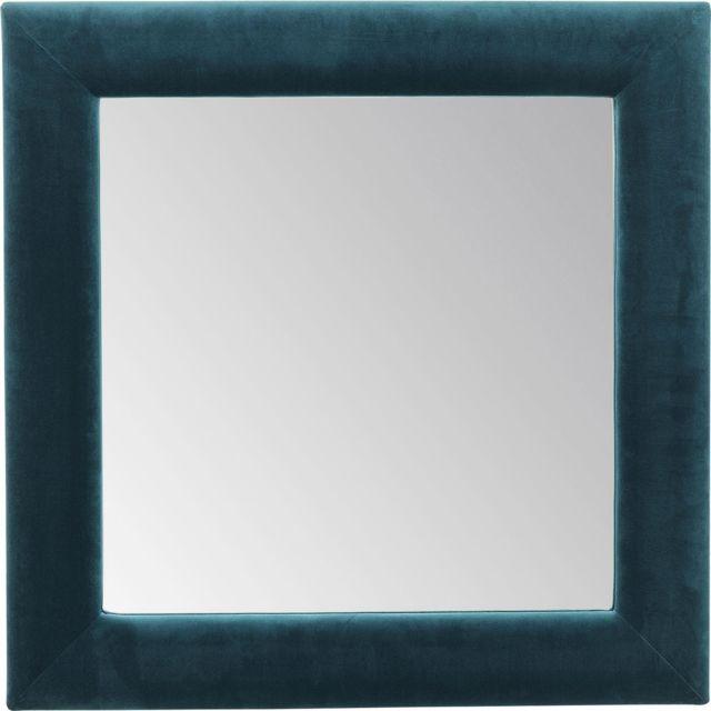 Karedesign Miroir carré velours bleu-vert 100x100cm Kare Design