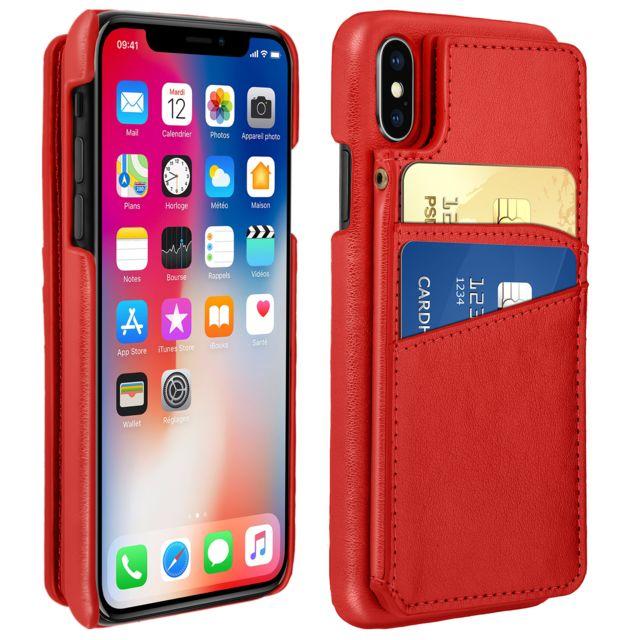 coque iphone xs porte carte cuir