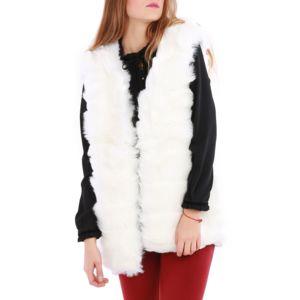 Veste fourrure blanche femme pas cher