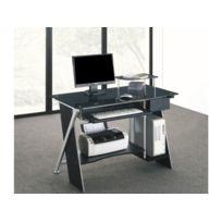vente unique bureau informatique pascal 1 tiroir verre tremp noir 110cm x 86cm x 58cm. Black Bedroom Furniture Sets. Home Design Ideas