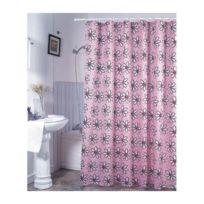 Msv - Rideau de douche polyester 180x200cm fleurs roses