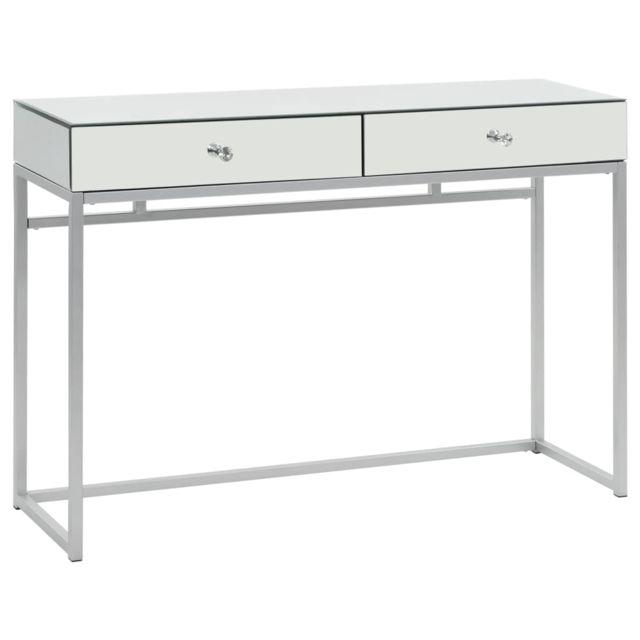 Inedit Consoles serie Amman Table console miroir Acier et verre 107 x 33 x 77 cm