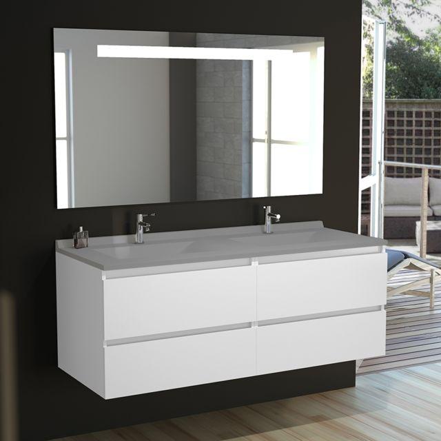 b9ff80fe37 CREAZUR - Meuble salle de bain double vasque ARLEQUIN 140x55 - 5 coloris au  choix