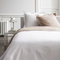 Today - Parure housse de couette bicolore + taies 100% percale de coton Aquarelle - Mastic/chantilly - 240x220cmNC