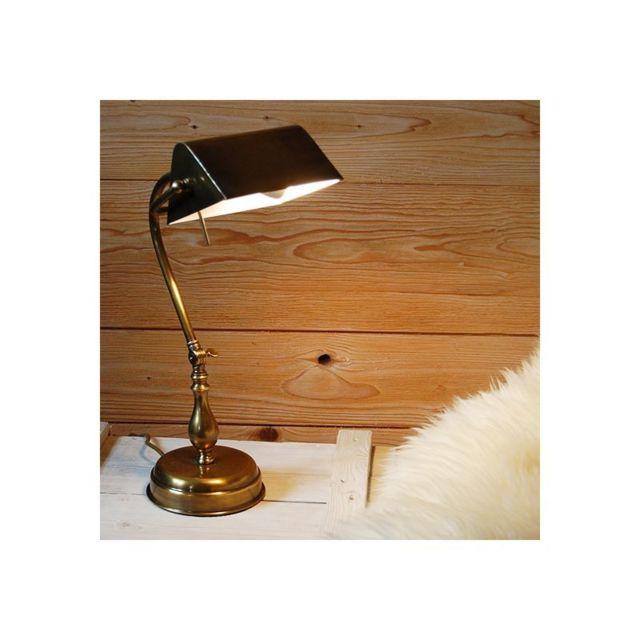 Jp Ryckaert Lampe Bureau Laiton Brocante Dore 24cm X 42cm X 0cm