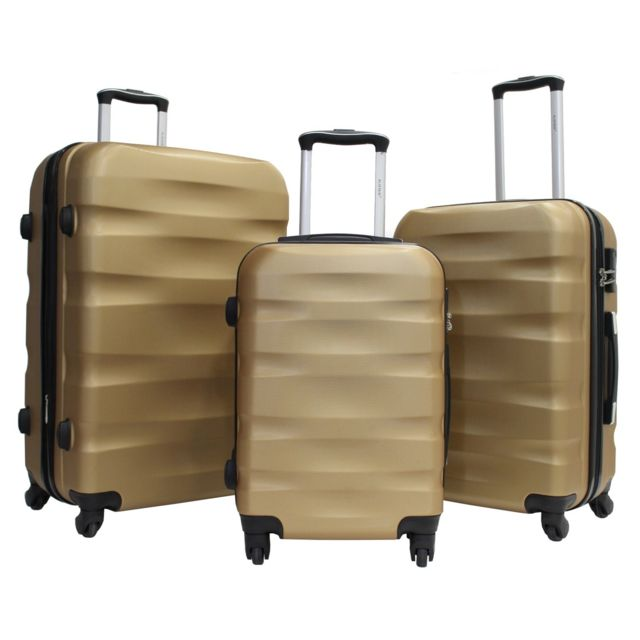 Alistair - Fly- Set De 3 Valises - Abs Ultra LÉGÈRES - 4 Roues Gold