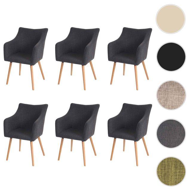 mendler 6x chaise de s jour salle manger malm t382 style r tro des ann es 50 tissu. Black Bedroom Furniture Sets. Home Design Ideas