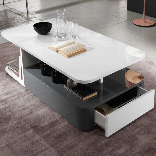 Nouvomeuble Table basse design blanc et gris laqué Laurene