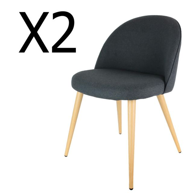 en Lot 5 métal DimH foncé x fauteuils x polyester P 56 50 gris cm et L 2 de 76 coloris A5L3Rj4