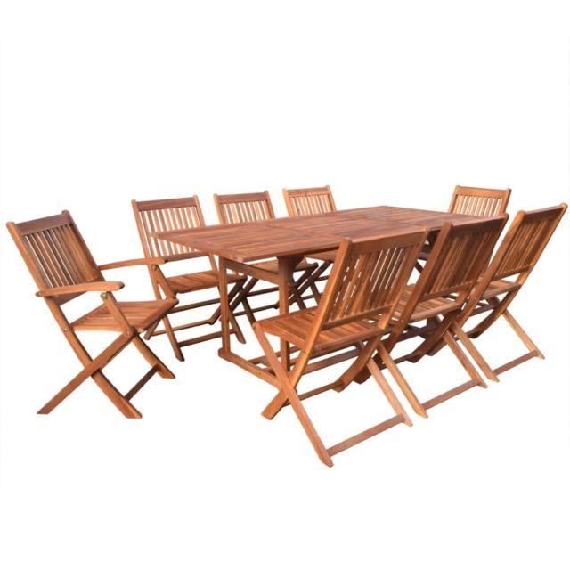 Vidaxl Mobilier à dîner d'extérieur 9 pcs Bois d'acacia solide