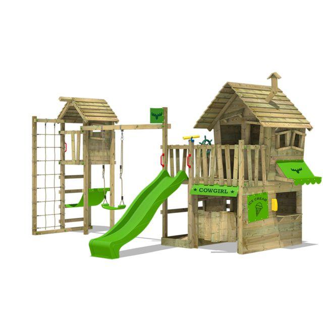 FATMOOSE Aire de jeux en bois CountryCow Maxi XXL Cabane en bois avec toboggan balançoire et Tour d´escalade