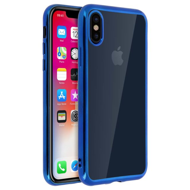coque iphone x transparente bleu