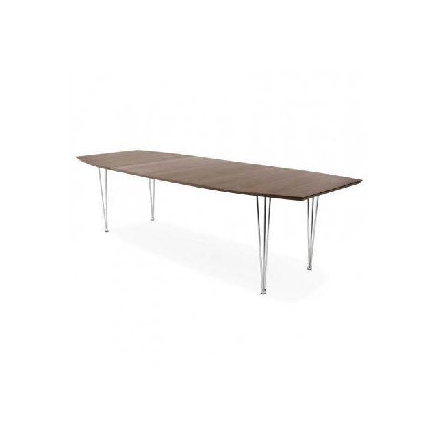 TECHNEB Table design avec rallonges RINBO en plaqué noyer et acier chromé 170/270cmX100cmX74cm, noyer