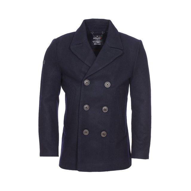 superdry caban en laine m lang e bleu marine pas cher achat vente manteau homme. Black Bedroom Furniture Sets. Home Design Ideas