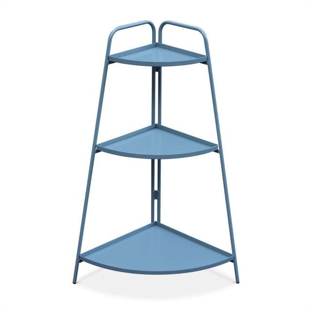 ALICE'S GARDEN Étagère d'angle Alicia bleu grisé, meuble de rangement pour intérieur et extérieur, 3 étages
