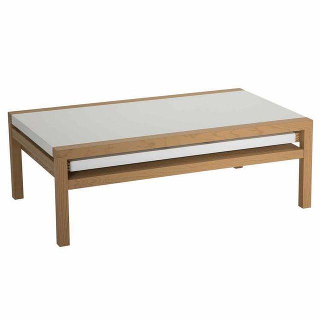 Table basse en bois laqué / piètement chêne plateaux ouvrants L110cm BRIANA - Blanc