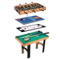 3d1b25d47a2395 HOMCOM - Table multi jeux 4 en 1 babyfoot billard air hockey ping-pong avec