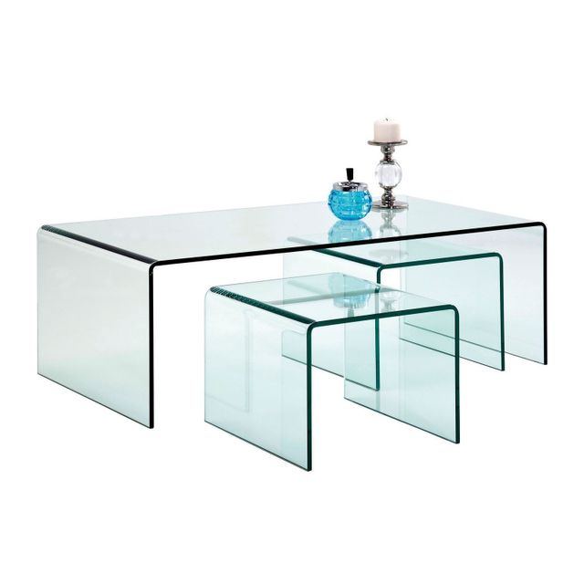 Karedesign Tables basses transparentes Clear Club set de 3 Kare Design