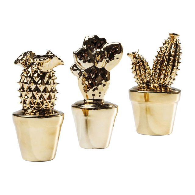 Karedesign - Déco Cactus Or set de 3 Kare Design 6.6cm x 14cm x 6.1cm