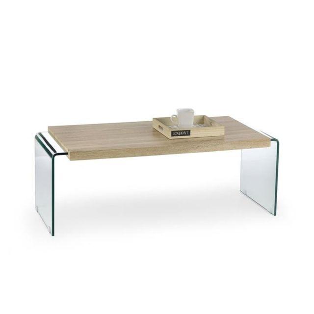 Meubler Design Table Basse Verre et bois Glori