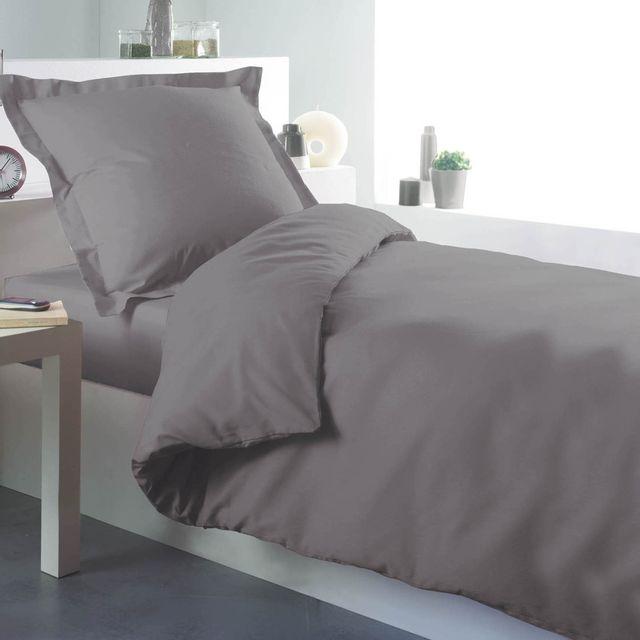 douceur d 39 interieur cdaffaires housse de couette 1 personne 140 x 200 cm uni 57 fils lina gris. Black Bedroom Furniture Sets. Home Design Ideas