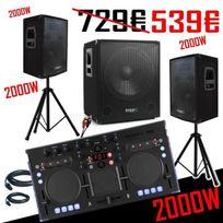 Ibiza Sound - Pack Dj + ContrÔLEUR Korg Kaoss + Pack Sono Cube 1512 2000W avec Caisson + Enceintes + Pieds + CÂBLES
