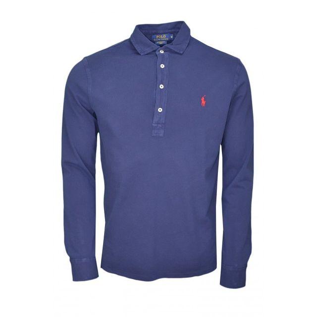 75962c5abbe73 Ralph Lauren - Polo manches longues Ralph Lauren basique bleu marine pour  homme