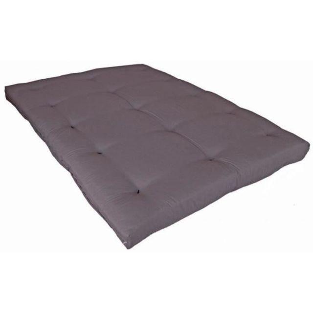 FUTON Matelas futon 140 x 190 - Confort ferme et Equilibré - Epaisseur 15 cm - Taupe