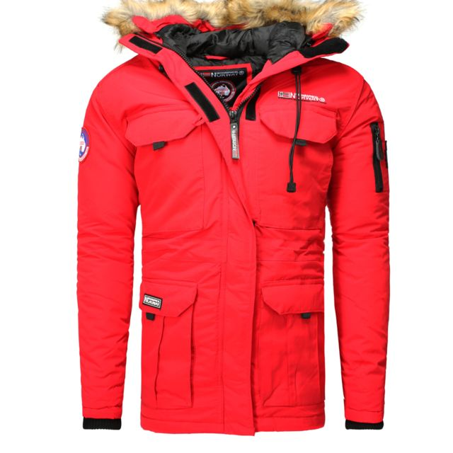 57d69a8d5e52 Geographical Norway - Parka hiver Parka Barely rouge XXL - pas cher Achat    Vente Blouson homme - RueDuCommerce