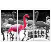 Declina - Triptyque tableau animaux flamants roses - Photo sur toile pas cher