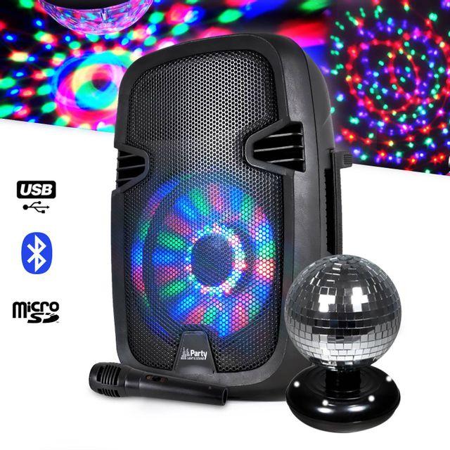 Party Sound Enceinte mobile avec boomer lumineux + mini boule à facette rotative