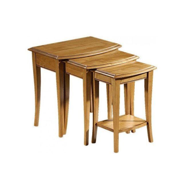 Tousmesmeubles Tables gigognes 1 tiroir - Sabine - L 55 x l 40 x H 54