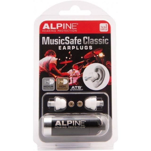 Alpine Bouchons d'oreilles pour musicien, MusicSafe Classic 2 niveaux de protection : moyen et fort Atténuation selon le filtre et la fréquence, de 14 à 27,7 dB Bouchons en silicone ultra confortable Livré avec un étui porte-clefs Les MusicSafe ont été sp