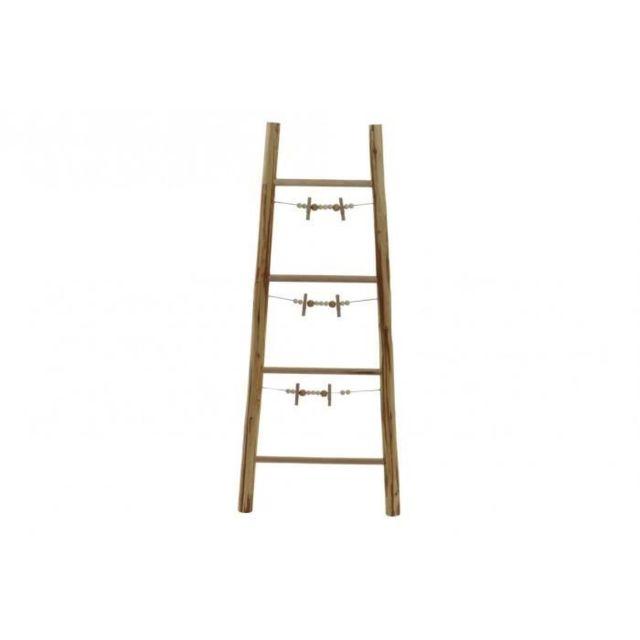 PORTE PHOTO Porte-photos escalier Corde en bois - 44 x 4,5 x 105 cm