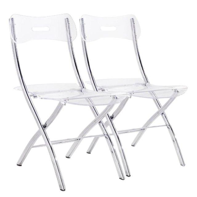 Nouvel Inside 75 - Lot de 2 chaises pliantes Widow en plexiglas DL-23
