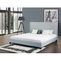 Beliani - Lit en tissu - lit double 180x200 cm - sommier inclus - Marseille - bleu clair