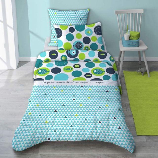selene et gaia parure de lit poisson bleu en coton pour. Black Bedroom Furniture Sets. Home Design Ideas