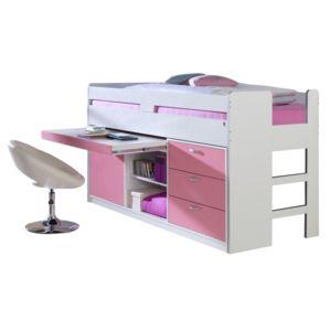 comforium lit mi hauteur combin 90x200 cm avec 3 tiroirs 1 commode et un bureau coloris. Black Bedroom Furniture Sets. Home Design Ideas