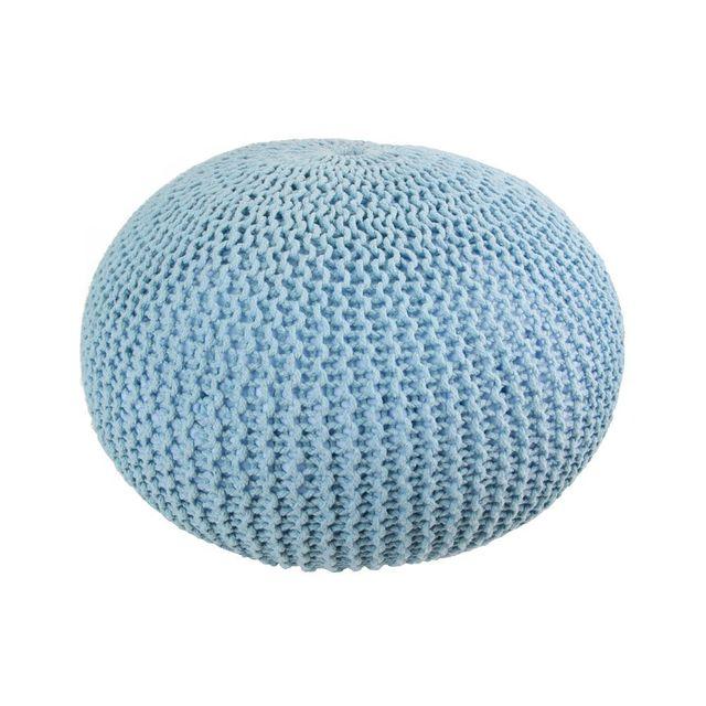 Marque Generique - Coussin de sol tressé bleu 50cm x 50cm