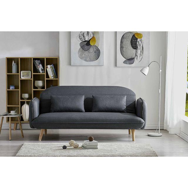 Concept Usine Sotchi gris - Canapé convertible scandinave - 3 places