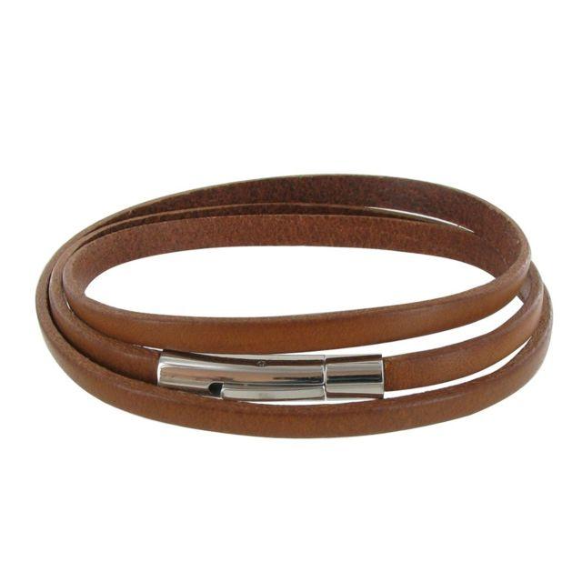 7d14732a327 Les Poulettes Bijoux - Bracelet Homme Cuir Marron Clair Plat Fermoir Acier  Inoxydable - taille 19
