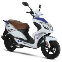 Eurocka - Scooter R8 Qt-22 50cc 4Temps Bleu/Blanc