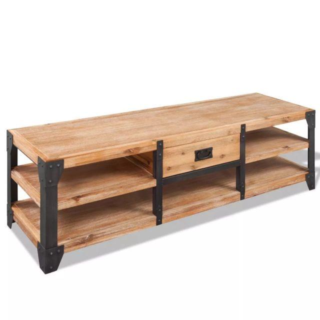 Helloshop26 Meuble télé buffet tv télévision design pratique 140 cm bois d'acacia massif 2502070